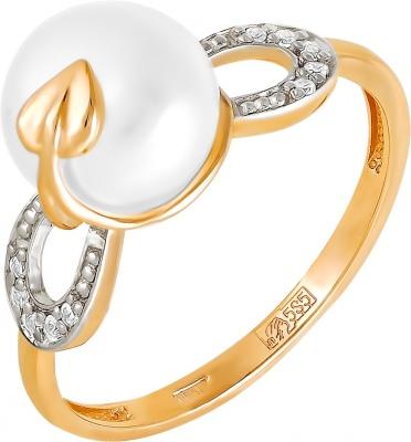 Кольцо с бриллиантами и жемчугом из красного золота