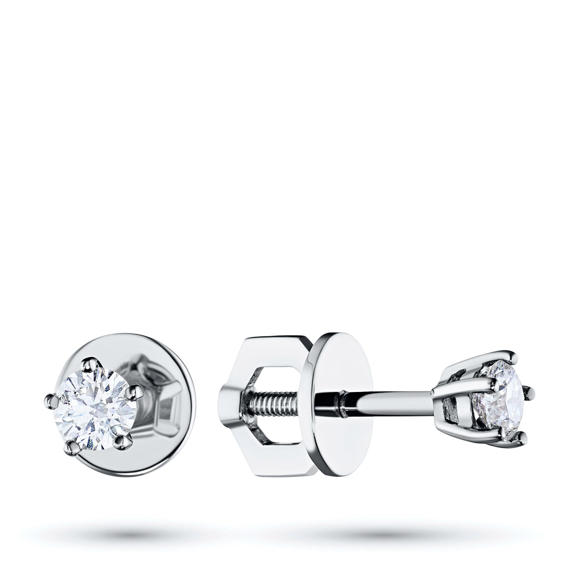 Пусеты из белого золота с бриллиантом э0901пс07152900 э0901пс07152900